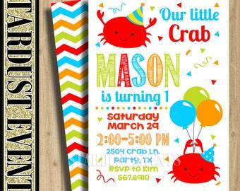 Crab Birthday Invitation, Crab Invitation, Crab 1st Birtday Invitation, Crab Party Invitation