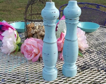 Large Blue Wooden Vintage Shabby Chic Salt Shaker and Pepper Mill Set, Unique Salt And Pepper Mill Grinder Combo Kitchen Home Decor, urbcoco