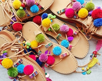 Sale - 20 % Sandals boho style,pom poms sandals, leather sandals, gladiator sandals, boho sandals, lace up sandals