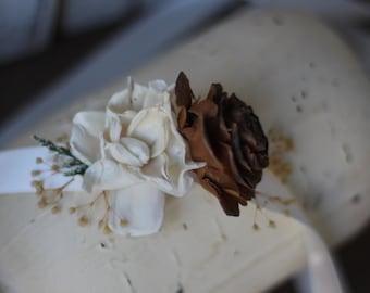 Wrist corsage, Rustic Wedding, Country wedding, woodland wedding, cedar rose wrist corsage
