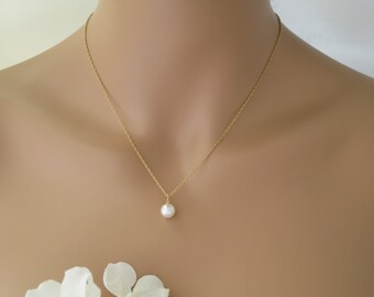 Simple pearl backdrop necklace, Swarovski pearl wedding necklace, Gold bridal necklace