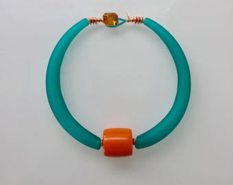 Sydney:  Teal Murano Glass Statement Collar