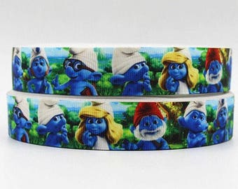 "Lot of 2 Metres of 7/8"" Grossgrain Ribbon - Smurfs - For Craft"