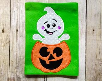 Boys halloween shirt or bodysuit - ghost - jack-o-lantern - first halloween