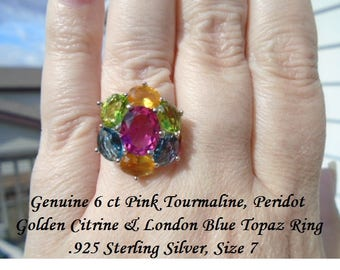 Genuine Pink Tourmaline, Peridot, London Blue Topaz & Golden Citrine Ring