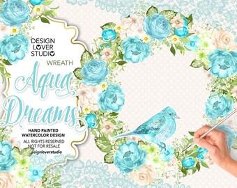 Watercolor AQUA DREAMS design/wreath, spring watercolor flower, Aqua Floral Clipart, Wedding Clip Art, wedding, blue, lace