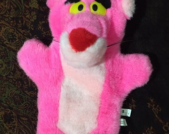 Vintage 1989 Pink Panther Puppet Soft Toy stuffed plush
