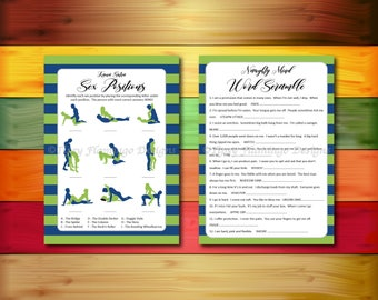 TWO PACK- Bachelorette Games, Naughty Mind Word Scramble & Guess The Sex Positions, Navy Blue, Kelly Green, Printable Instant Download T403C