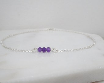 Personalized birthstone bracelet, Ametyst bracelet, Natural gemstone jewelry, Sterling silver bracelet, Bridesmaid bracelet