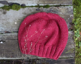 Berry Slouch Knit Beanie