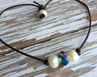 SALE Boho Chic Pearl Leather Choker Necklace ~ Two White Pearl and Aqua Blue Crystal Leather Choker