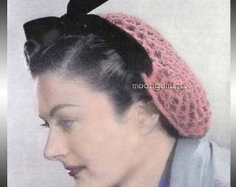 Crochet Snood Love Knot Hairnet Hair Net Hat Vintage Crochet PDF Pattern