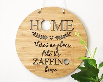 There's No Place Like Home Personalised Bamboo Wall Hanging