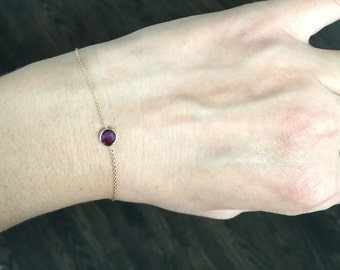14k solid gold and purple amethyst  everyday bracelet, February  birth stone
