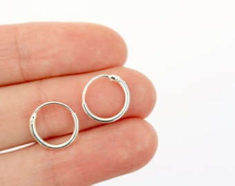 Tiny sterling silver hoops, 10mm sterling silver hoops, simple silver earrings, stocking filler earrings, stocking filler jewellery
