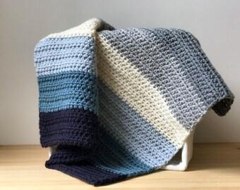 Crochet Throw Blanket / Ombre Stripe Blanket / Lap Blanket / Baby Gift / Blue Stripe Baby Blanket / Gray Stripe Blanket / Wheelchair Blanket
