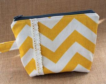Yellow Chevron Zipper Pouch, Yellow Chevron Wristlet, Lace and Chevron Wristlet, Wristlet, Gift for Her, Ready to Ship