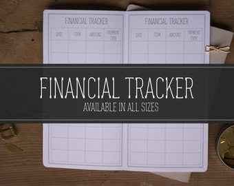 FINANCIAL TRACKER, Midori Travelers Notebook Insert