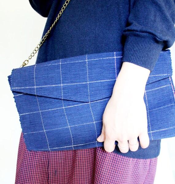 Navy Blue Shoulder Bag, Clutch Purse Crossbody Bag, Chain Strap Navy & Silver Metallic Purse, inside Pocket, Evening Clutch, Removable Strap