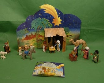 Vtg Playmobil Nativity Set Christmas Scene Holy Family 3 Kings Shepherd Barn Animals Cardboard Manger INCOMPLETE Model 5719 ages 4 and up