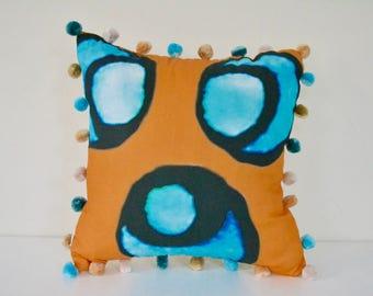 "12""x12"" Orange pillow cover -  Pompoms pillow - Chintamani pillow - Orange Blue white decorative pillow - Custom pillow - Handsewn in USA"