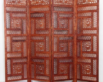 orient vintage wooden Screen room divider partition double-sided   No:7399
