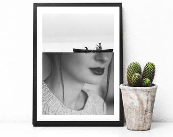"Black and white art print, surreal collage art, woman print, illusion print, mixed media collage art, surreal portrait art - ""On the edge""."