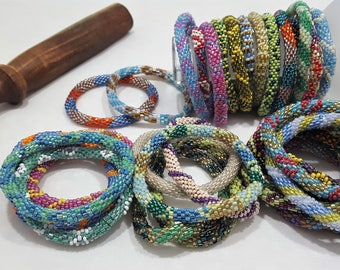 Elegant Glass Bead Bracelet, Roll On Bracelet, Colorful Bracelet, Nepal Bracelet, Seed Bead Bracelet