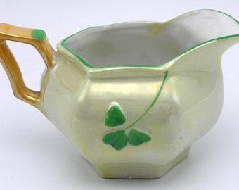 "Antique Porcelain Shamrock Creamer - ""Erin Hand Painted China"""