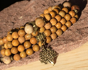 Wood Petrification,Tibetan Zen Mala 108,Mala Gemstone 108,Pulsera Buda,Mala Tree of Life,Arbol de la Vida,Yoga Bracelet,Petrification Angel