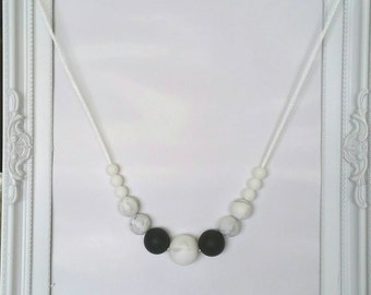 Teething neclace 'Grey marble'