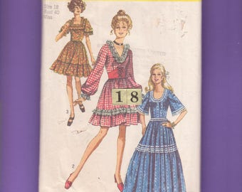1970s Dirndl Square Dance Dress Costume Sewing Pattern/ Simplicity 8875 low cut fitted bodice long Ruffled full skirt dress/ Size 18 Bust 40