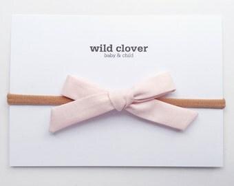 Baby Bow Clip-Blush Pink, Schoolgirl Bow, Baby bows, baby headbands, baby head band, bow clip, nylon headband, baby bow headband