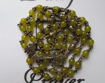 Rosary No. 51 Green Jade in Brass & Bronze