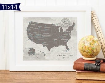 USA National Park Map - Personalized - Centennial  anniversary of the National Parks. 11X14 size