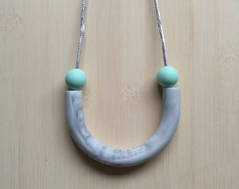 Silicone tube necklace -Holly in Mint & Marble