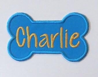 Iron On Personalized Dog Bone Patch/CUSTOM COLORS/Dog Name Patch/Personalized Dog Patch/Embroidered Name Patch/Puppy Name Patch/Dog Patch