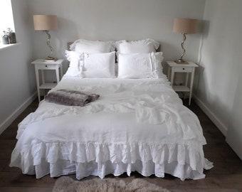 Linen Duvet Cover, Linen Bedding, Ruffled Duvet Cover, Shabby Chic Bedding, King Duvet Cover, Queen Duvet Cover, Rustic Farmhouse