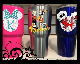 "3.5"" Tall ""Disney Inspired"" Silhouette Monogram Minnie / Mickey / Bow / tumbler decal/ laptop / car / yeti / bottle / truck / mug / notebook"