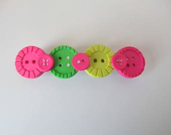 Neon Button Barrette, Birthday Gift, Gifts for her, Gifts for girls, Gifts for teens, Button Barrettes, Hair Accessories, Hair Clip