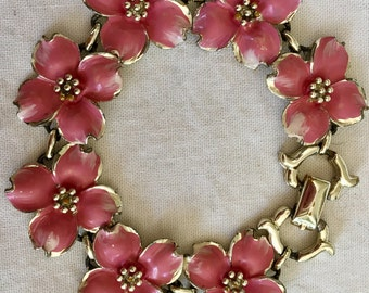 Vintage pink enamel floral bracelet  charming summer accessory