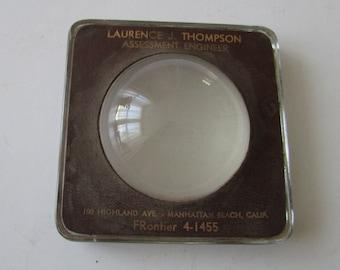 Vintage 50's Manhattan Beach CA Paperweight Thompson Assessment Engineer