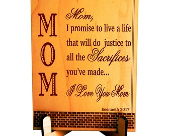 Gift to Mom, Mom's Plaque, Birthday Gift to Mom, Son to Mom Gift, Daughter to Mom Gift, Christmas Gift to Mom, Mother's Day Gift PLM017