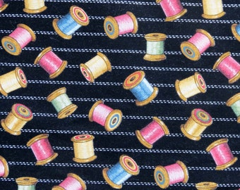 Thread Fabric, Black and Pink Fabric, Sewing Themed Fabric, Designed by the Kesslers,  Fabric by the Yard,  Material with Spools of Thread