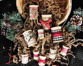 Rustic Spool Christmas Ornaments - Burgundy