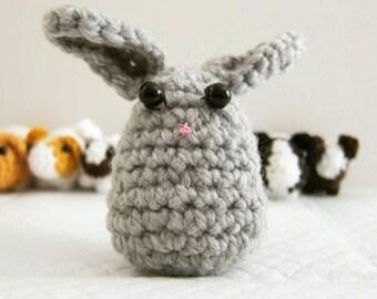Crochet amigurumi bunny rabbit with beanie bottom