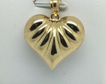 14K Yellow Gold Puffy Heart Pendant