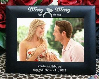 "Engraved Wedding Engagement Frame Personalized Couples 4"" x 6"" Photo Frame"