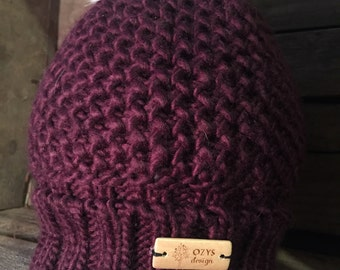 Toque knit Burgundy with Norwegian fox fur pompom.