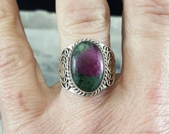 Ruby in Fuchsite Statement Ring - Size 7
